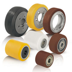 Wheels and rollers for pallet trucks, stackers and other forklift trucks